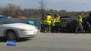 Rollover accident on Rt. 41 causes traffic jam - Video