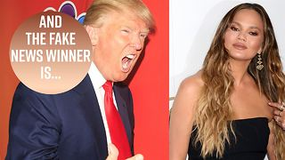 Chrissy Teigen 'hosts' Trump's Fake News Media Awards - Video