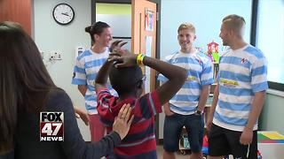Lansing United players cheer up kids at Sparrow Children's Center - Video