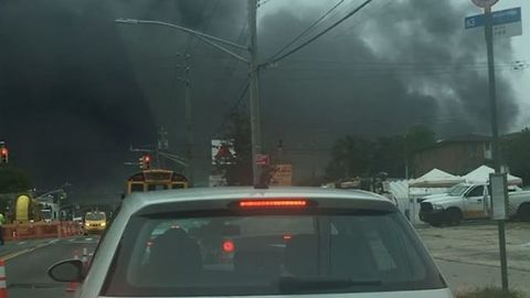 Thick Black Smoke Billows From Parking Garage Fire in Brooklyn