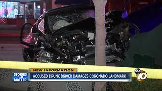 Accused drunk driver damages Coronado landmark - Video