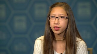 Denver's Angelina Holm participating in Scripps National Spelling Bee