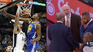 Kevin Durant POSTERIZED by Danny Green, Coach Pop EJECTED! - Spurs vs Warriors - Video