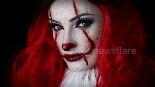 Make-up artist turns herself into IT character 'Pennywise' - Video