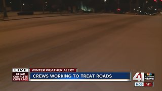 Crews working to treat sleet-covered roads