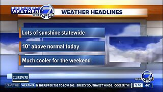 Sunny and warm on Friday, cooler for the weekend