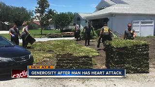 Pasco County man suffers heart attack while laying sod, first responders finish the job - Video