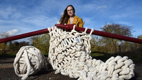 This isn't a stitch up! Creator of world's largest knitting needles desperately tries to flog them to fund her way through university