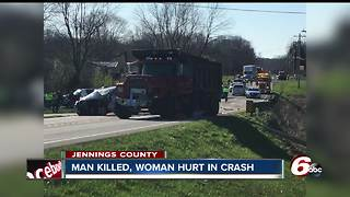 Jennings County man killed when car collides with dump truck - Video
