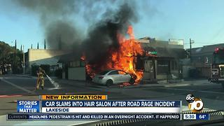 Car slams into hair salon after road rage incident