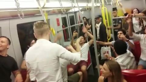 Subway turns into dance party after night out in Vienna