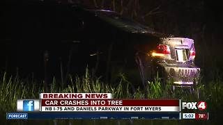 Driver escapes with minor injuries after crashing into tree - Video