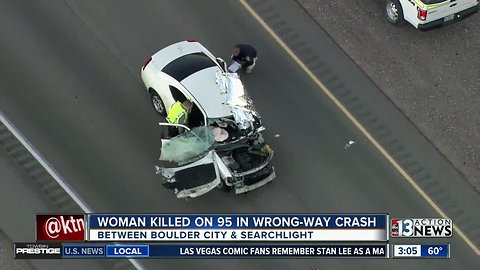 Woman killed in wrong-way crash on US 95