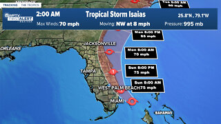 2 a.m. Sunday advisory - Tropical Storm Isaias