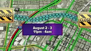 Overnight closure on U.S. 95 in downtown Las Vegas Aug. 2-3 - Video