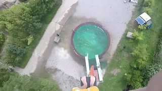 Daredevil Climbs Ridiculous Heights To Jump In Pool - Video