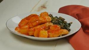Pineapple Sriracha Chicken over Wild Rice with Spinach - Video