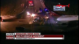 Six hospitalized in four-car crash in Sheboygan County - Video