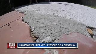 Homeowner left with eyesore of a driveway - Video