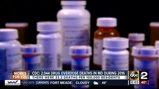CDC: There were 2,044 drug overdose deaths in MD during 2016 - Video