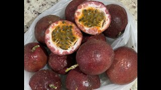 Turning some passion fruit into a refreshing juice