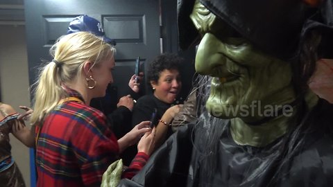 """Tears and thrills as NYPD and MTA hold inaugural """"Haunted Subway"""" event in New York City"""