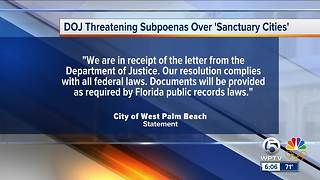 West Palm Beach among 23 'sanctuary cities' threatened with subpoenas by Department of Justice - Video