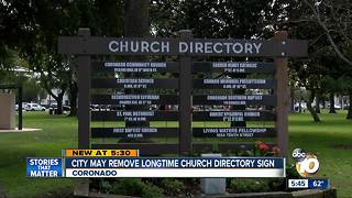 Coronado may remove church directory - Video
