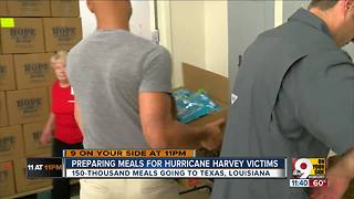 Volunteers make meal kits for Hurricane Harvey victims - Video