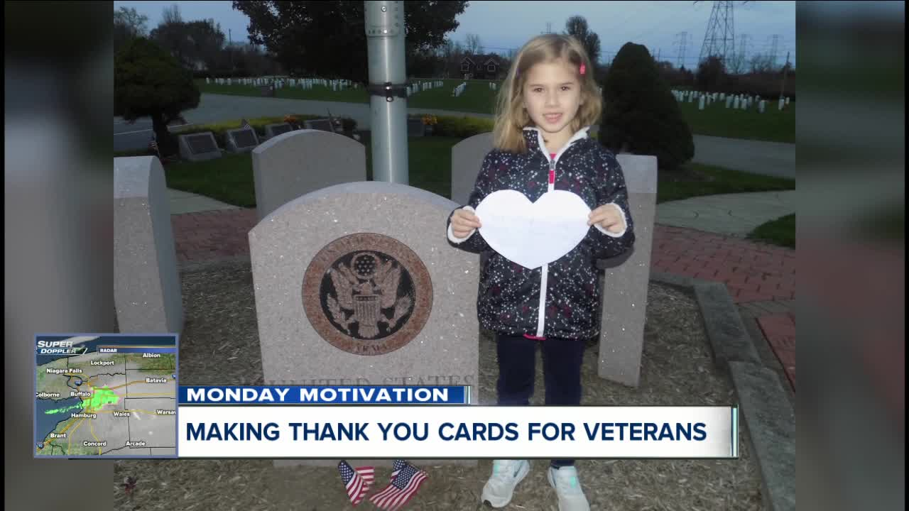 Thank you cards to Veterans, one 6 year-old makes card for grandpas who served