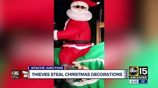 Thieves steal Christmas decorations from Apache Junction yard - Video