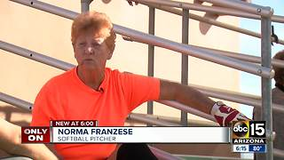 83-year-old woman keeps active by playing competitive softball - Video