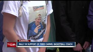 Students, others rally in support of fired Carmel basketball coach - Video