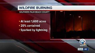 Wildfire burning in Everglades conservation area near Coral Springs