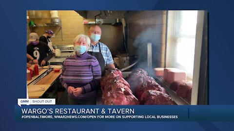 "Wargo's Restaurant and Tavern says ""We're Open Baltimore!"""