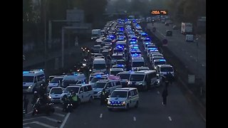 Hundreds of Ambulances Block Paris Highway During Protest