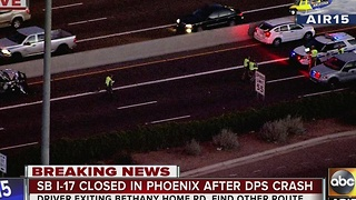 I-17 SB closed Wednesday evening in Phoenix after a DPS cruiser was involved in a crash - Video