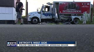 Three injured after Detroit EMS t-boned by SUV on city's west side - Video