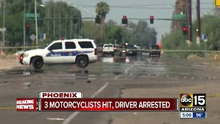Person arrested after motorcycle accident in Phoenix - Video