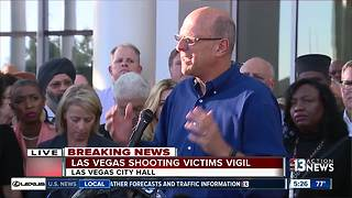 Vigil for mass shooting victims at Las Vegas City Hall - Video