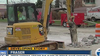 Crews continue to work at Fraser sinkhole - Video