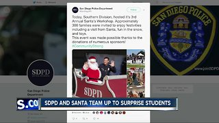 San Diego police, Santa Claus team to surprise local students - Video