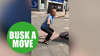 A random stranger busts a move to busker who jams Ed Sheeran with a saxophone
