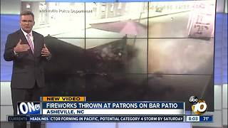 Fireworks thrown at patrons on a bar patio Asheville, NC - Video