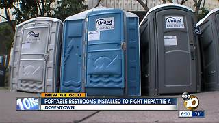 Portable restrooms installed to fight Hepatitis A - Video