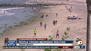 People crowd reopened beaches