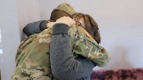 Military son grants mum only birthday wish by coming home early