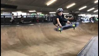 Ten-year-old skater shows off his impressive skills