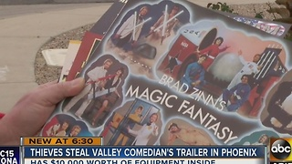 Valley comedian Brad Zinn not laughing after thieves steal trailer - Video