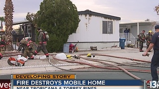 Mobile home fire reported near Tropicana, Torrey Pines